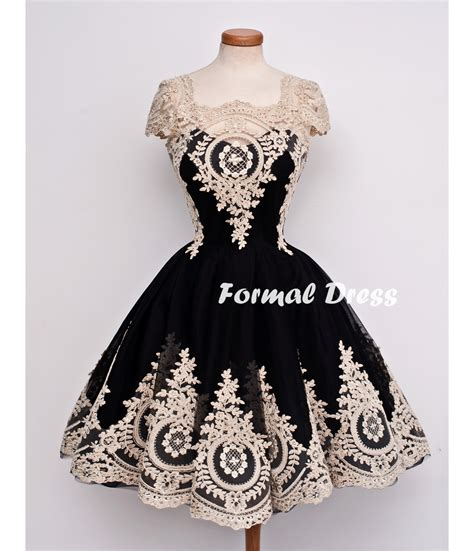 Dress E formal dress retro black tulle lace prom dresses