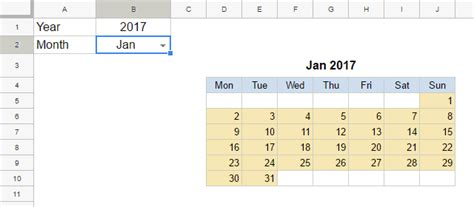 Monthly Calendar Template For Google Sheets