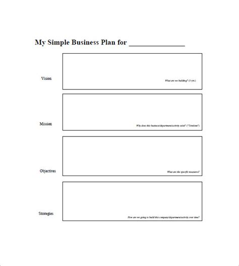 Blank Business Plan Template simple business plan template 20 free sle exle
