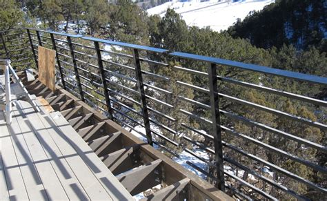 Outdoor Balcony Design Ideas horizontal deck railing metal railing stairs and kitchen