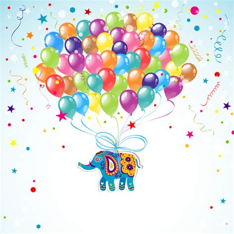 happy birthday background design vector floral elephants with happy birthday background vector
