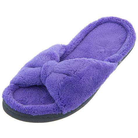 fuzzy slippers isotoner purple bow fuzzy slippers for click to
