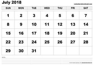 July 2018 Calendar Printable July 2018 Calendar