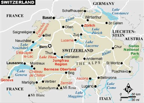 only pictures map of switzerland in europe