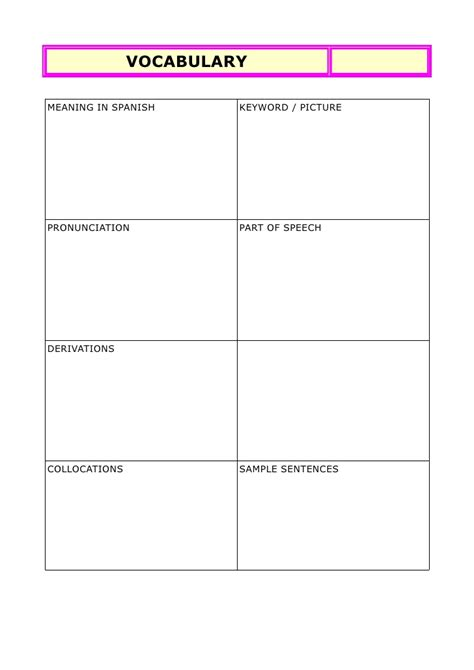 vocabulary test template vocabulary notebook template
