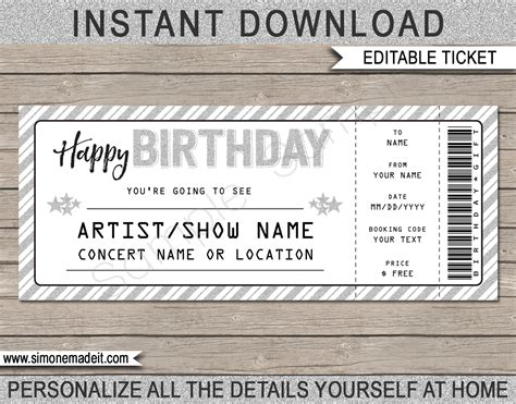 ticket voucher template printable concert ticket template printable birthday