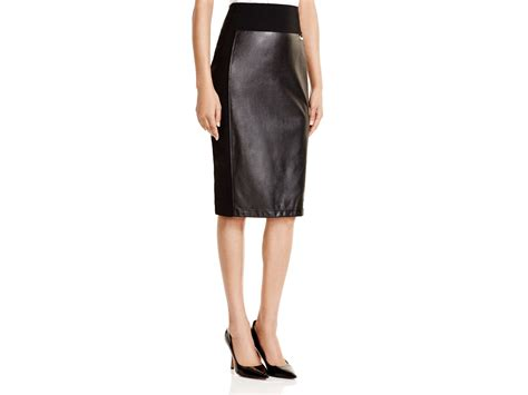 calvin klein faux leather pencil skirt in black lyst
