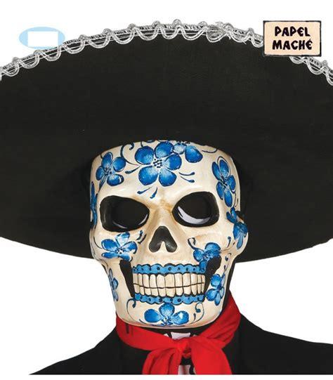 fiori in cartapesta maschera teschio messicano con fiori in cartapesta