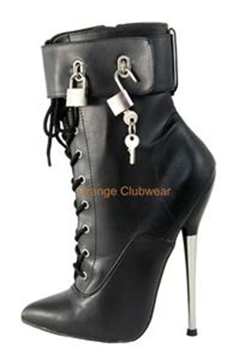 locking high heel shoes devious metal stiletto black ankle high locking boots