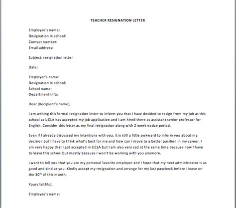 Resignation Letter From Teaching Pdf Resignation Letter School Reason Resignation Letter Teaching Template Cover Exle Resigning
