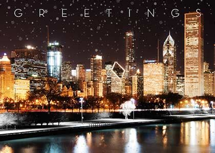 chicago skyline illuminated business holiday cards