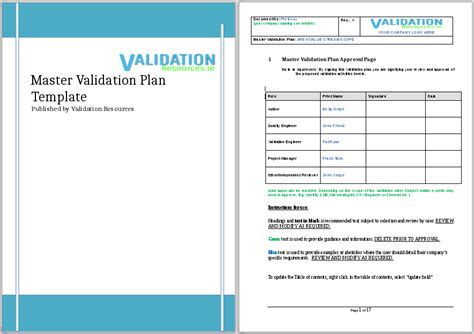 project master plan template validation plan template plan template