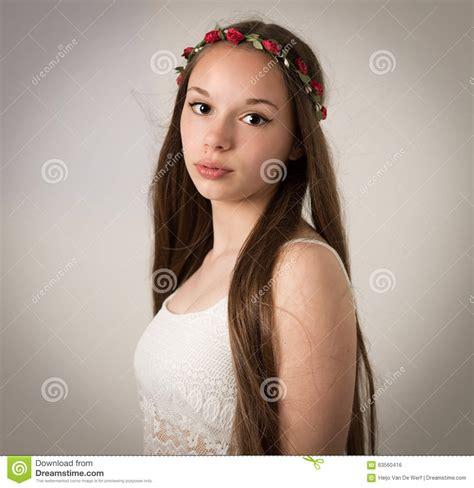 beautiful teen beautiful teen hippie girl in white top stock photo