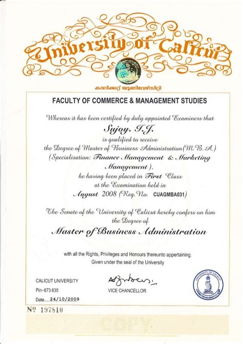 Ba Mba Degree by Mba Certificate