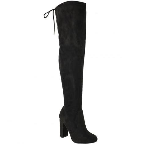 black faux suede knee high tie top block heel boots