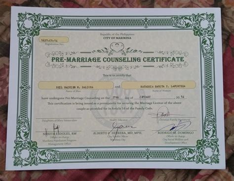 Premarital Counseling Certificate Of Completion Template - UN ...