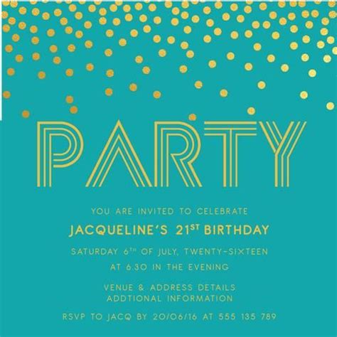 21st Birthday Card Template by 21st Birthday Invitation Template Confetti