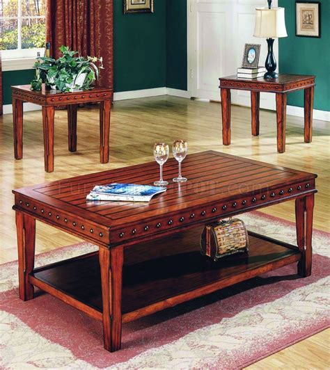 Pine Coffee Table Set Pine Solid Wood Stylish 3pc Coffee Table Set W Nail Accents
