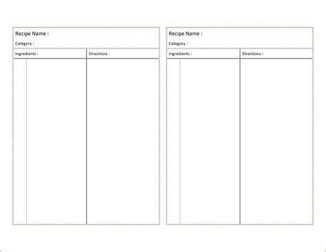 template for recipes in word recipe card template for word authorization letter pdf