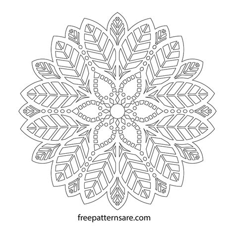 leaf mandala coloring page fern pattern coloring pages sketch coloring page