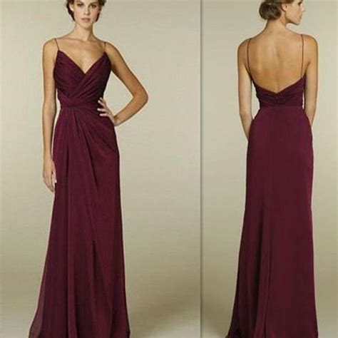 easy hairstyles with evening gowns maroon spaghetti straps v neck simple open back long