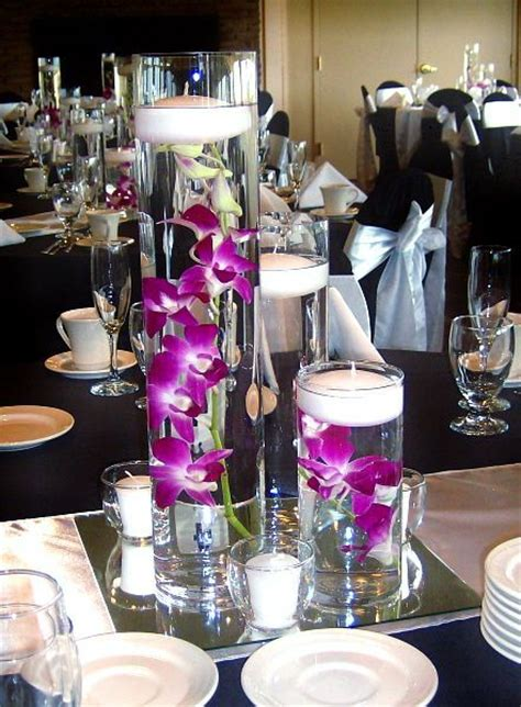 Floating Orchids In Vase by Trio Vase Centerpiece With Purple Magenta Dendrobium