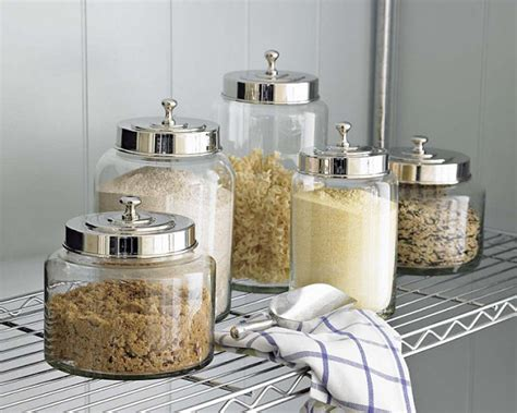 kitchen glass canisters with lids glass canisters with stainless steel lids