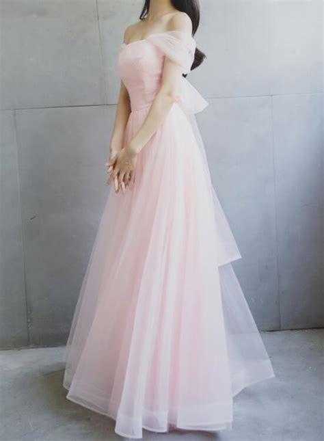 light pink tulle  shoulder party dress  bow soft