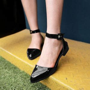 Pointy Toe Low Block Heel Pumps patent leather low block heel pointy toe slingback