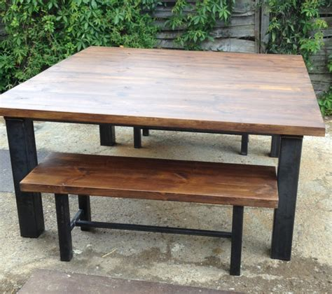 vintage industrial chic rustic dining table and bench by
