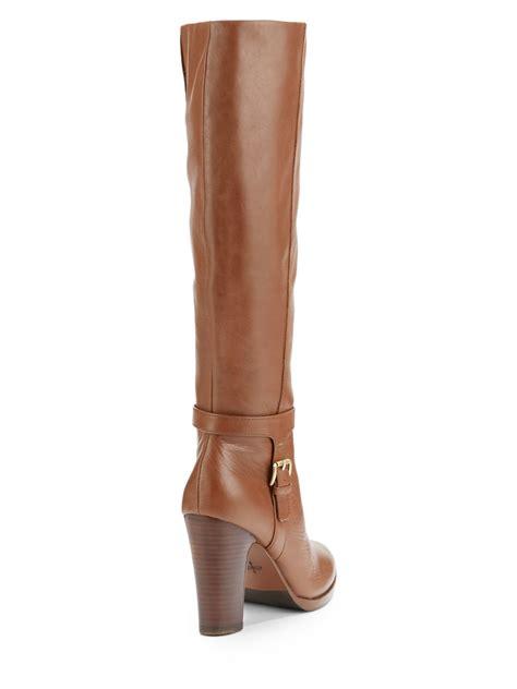 cognac colored boots lyst pour la victoire isabeli cognac leather heeled