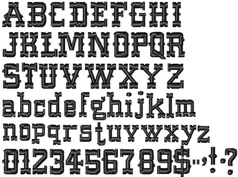 country style fonts text embroidery font western from designs