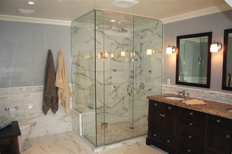 white marble bathroom   Traditional   Bathroom   Toronto