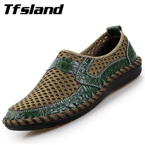Genuine Leather Slip On Sneakers tfsland new summer breathable mesh shoes genuine