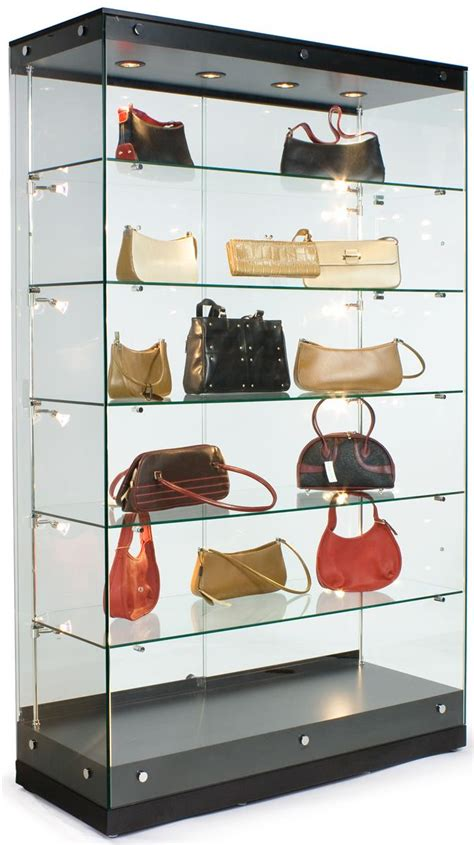 glass display shelves black mdf display cases canopy top top side lighting