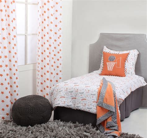 basketball toddler bed bacati basketball orange grey muslin 3 pc toddler bed