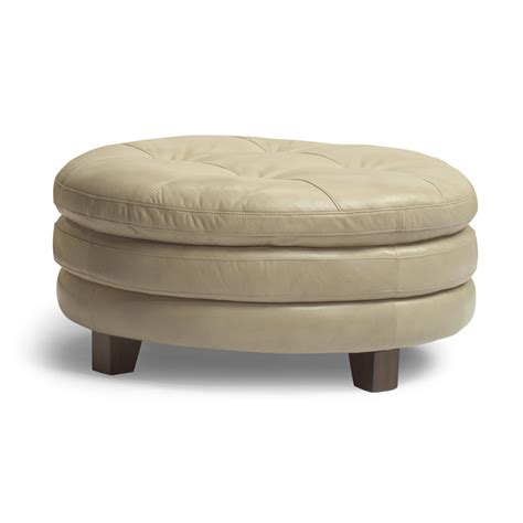 round leather cocktail ottoman flexsteel 1644 094 south leather round cocktail ottoman