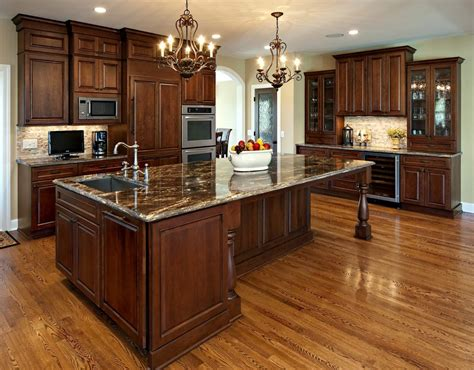 Cherry Wood Kitchen Cabinets With Black Granite Cherry Wood Kitchen Cabinets With Black Granite Brown Varnished Wood Kitchen Cabinet Bar Stool