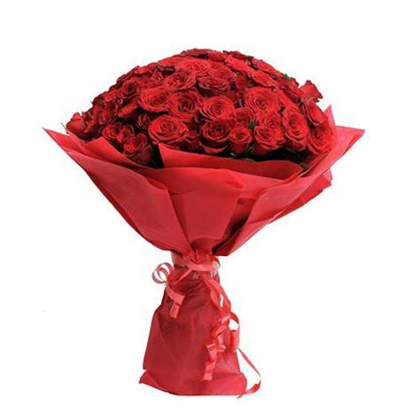 40 Red Roses Fancy Round Bouquet with Red Paper Packing