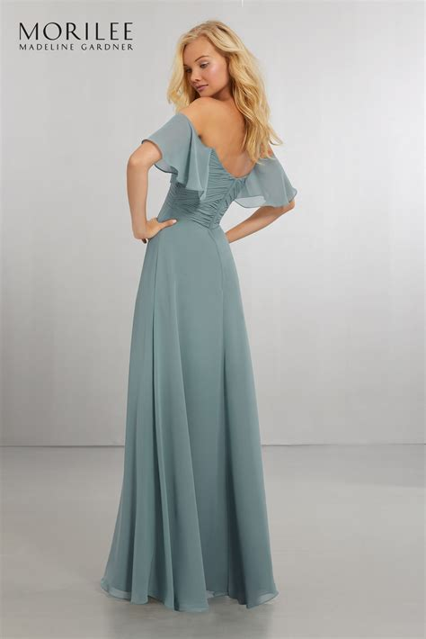 boho chic chiffon bridesmaids dress with off the shoulder