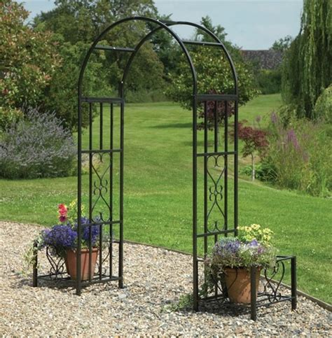 Garden Arch Clearance Huntingdon Steel Arch With Planters The Garden Factory
