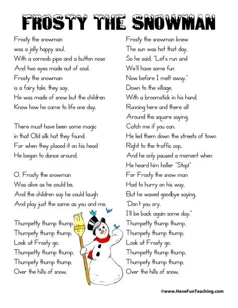 printable lyrics to earned it frosty the snowman lyrics have fun teaching