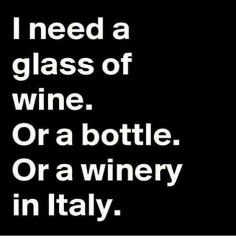Or A I Need A Glass Of Wine Or A Bottle Or A Winery In Italy