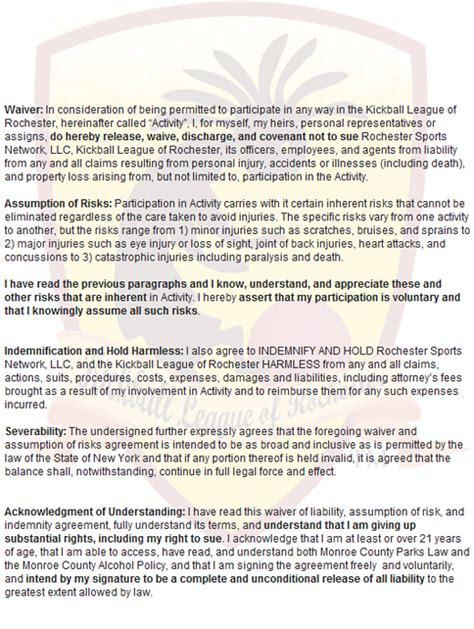 Kickball Sponsorship Letter Liability Waiver Page Www Rockickball Net