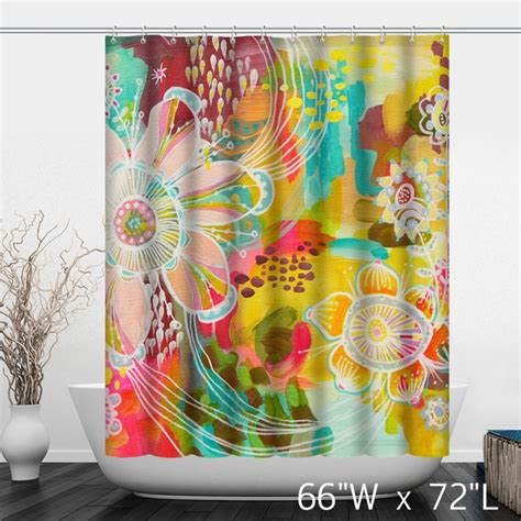 colorful curtains colorful watercolor floral print shower curtain custom