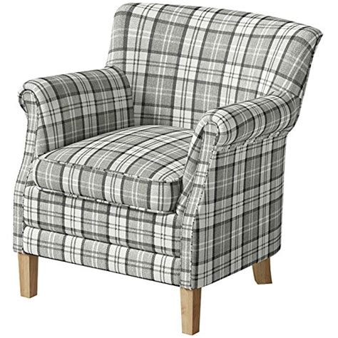 check armchair county armchair grey check fabric accent easy chair