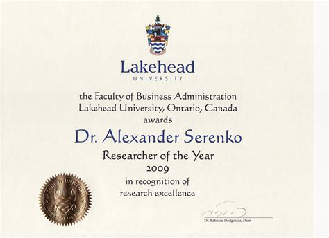 Lakehead Mba by Dr Serenko S Home Page