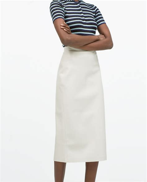 zara faux leather midi pencil skirt in white lyst