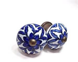 blue ceramic knob etsy