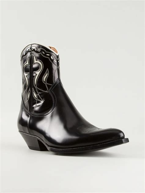laurent boots mens laurent santiag western boots in black for lyst